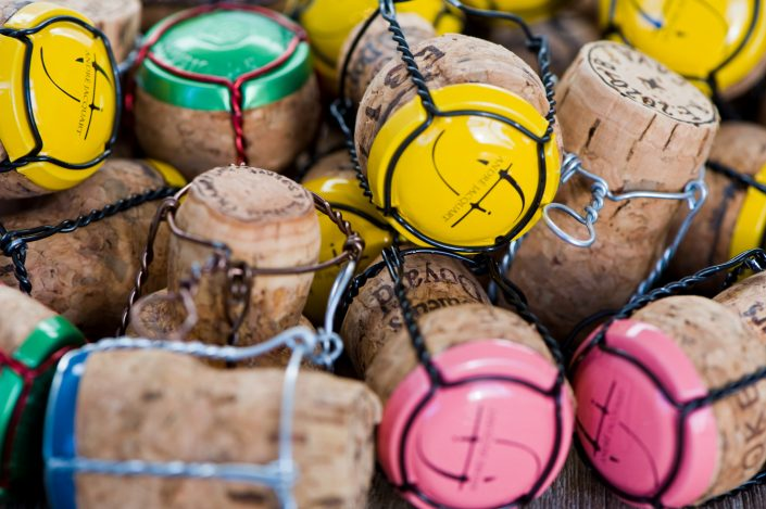 colourful champagne corks