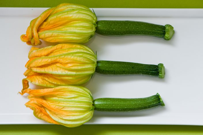 fresh yellow courgette flowers